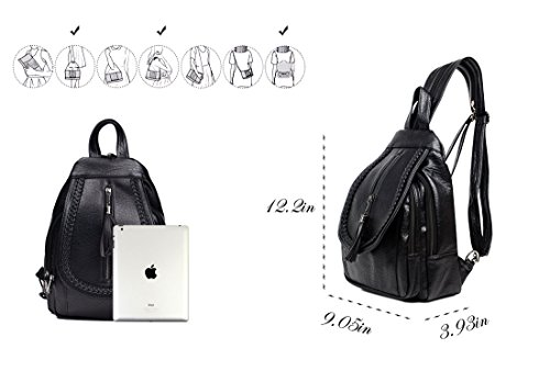 Sling Backpack Leather Convertible Purse Small Shoulder Bag for Women by Vintga (Image #5)