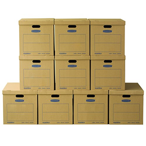 Bankers Box SmoothMove Classic Moving Boxes, Tape-Free Assembly, Easy Carry Handles, Large, 21 x 17 x 17 Inches, 10 Pack (7718202)