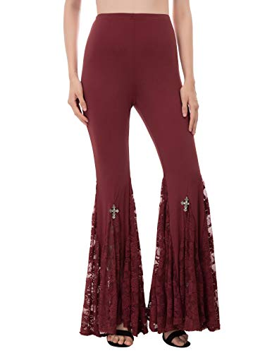 Women Gothic Steampunk Lace High Waist Casual Flare Yoga Pants Wine L
