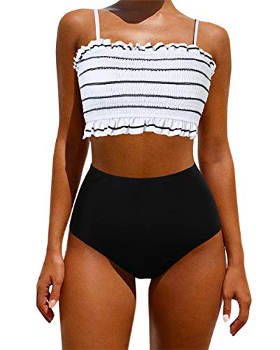 Shirred Bandeau Swimsuit - OMKAGI Women's Bandeau Bikini Sets Cute Shirred Swimsuit High Waisted Bathing Suit(L,White Black)