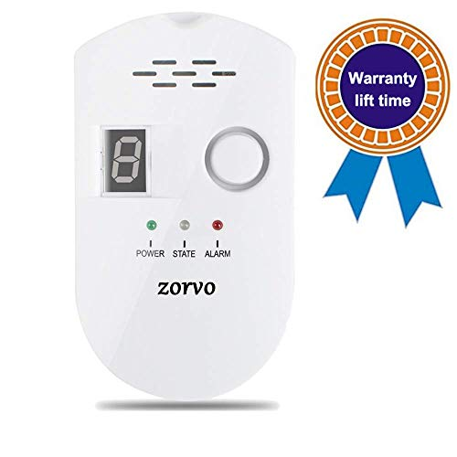zorvo Plug-in Digital Gas Detector High Sensitivity LPG/Coal/Natural Gas Leak Detection Alarm Monitor Sensor for Home/Kitchen Gas Alarm Detector Gas Leak Detector