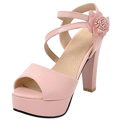 Fiore Peep TAOFFEN Moda Rosa Scarpe Donna Blocco Sandali 991 Alto Plateau con Toe A Tacco Tacco con qnf6wAxqI