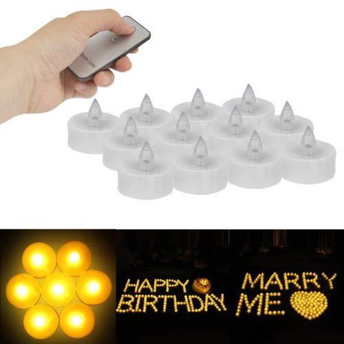 FidgetFidget Remote Controlled Electronic Tea Lights LED Flameless Candles Lamp 12Pcs Set