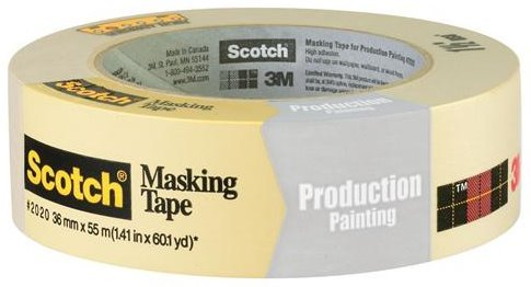 3M Scotch 2020 Painters Masking Tape, 20 lbs/in Tensile Strength, 60 yds Length x 1-1/2'' Width, Tan (Pack of 24) by Scotch