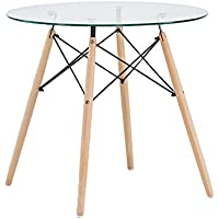 GreenForest Dining Table Round Clear Glass Table Modern...
