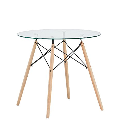 Round Dining Tables Chairs - GreenForest Dining Table Round Clear Glass Table Modern Style Table for Kitchen Dining Room Coffee Table with Wood Legs