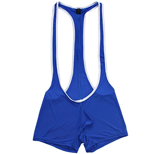 (TiaoBug Men's Wrestling Singlet Smooth Freestyle Jockstrap Bodysuit Underwear Blue Medium)