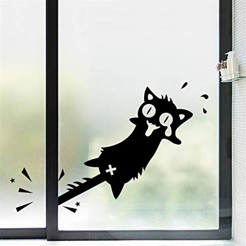 Iusun Wall Stickers Clip Tail Cat Creative Wall Paper Removable Self-Adhesive Art Mural for Bedroom Living Room Restaurant Kids Nursery Kindergarten Mall Decoration (Black) -