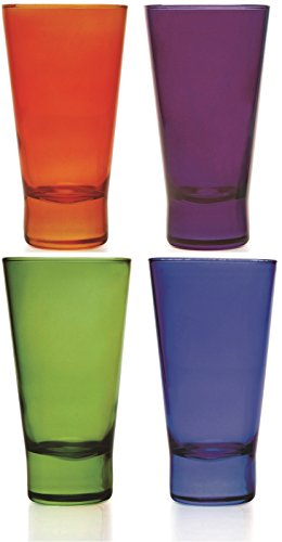 Circleware Inspire Glass Drinking Glasses Set, 13.5 Ounce, Set of 4, Multi Color Cobalt, Green, Orange, Purple, Limited Edition Glassware Drinkware Drink Cups coolers (Colored Glasses Drinking compare prices)