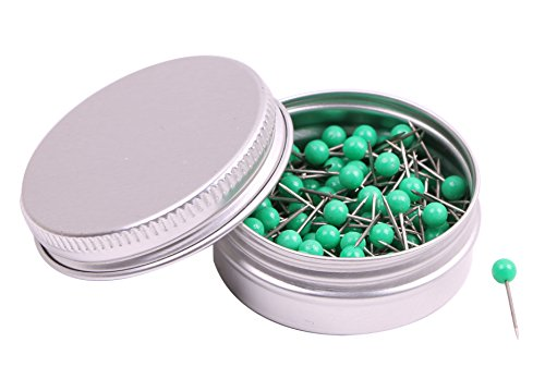 PTC Office 1/8 Inch Map Tacks DIY Craft Plastic Round Head Push Pins (Green, 100PCS)