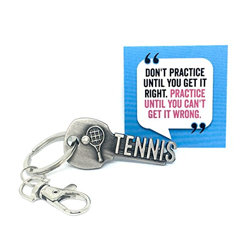 key2Bme Tennis Keychain and Inspirational Quote - Great Gift for Coaches, Teams, and Players (1-Pack) (Tennis Bag Gift)