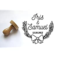 Custom stamp, Wedding or birth announcement stamp, with names and date, laurel pattern, to customize your letters - 2 inches