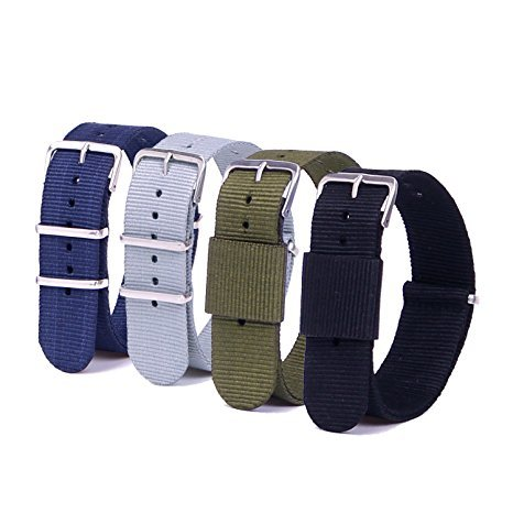 Vetoo 22mm Watch Bands, Ballistic Nylon Replacement NATO Strap with Adjustable Metal Clasp, Pack of 4
