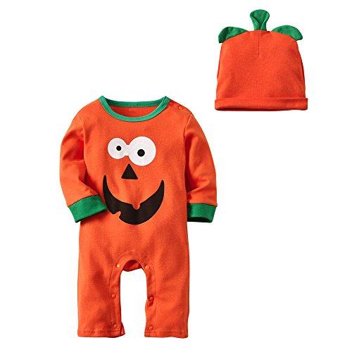 MOKO-PP Newborn Baby Boys Girl Halloween Clothes Long Sleeve Romper Jumpsuit Cap Outfit(Orange,90)