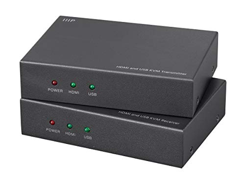 Monoprice HDMI and USB KVM Extender - Black Use Cat5e or Cat6 | extends up to 154ft, 1080p@60Hz | USB 2.0 | PoC ()
