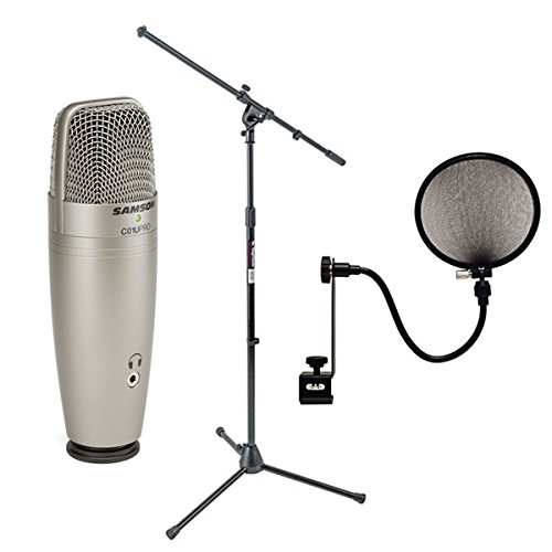 Samson C01U Pro USB Studio Condenser Microphone + On Stage MS7701B Euro Boom Microphone Stand+ 15A Pop Filter on 15-Inch Gooseneck (Usb Instrumental Microphone)