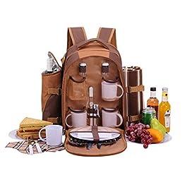 Picknickrucksack für 4 Personen mit Fleece-Decke und Kühlfach
