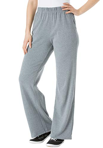 Woman Within Women's Plus Size 7-Day Knit Wide Leg Pant - Medium Heather Grey, 2X ()