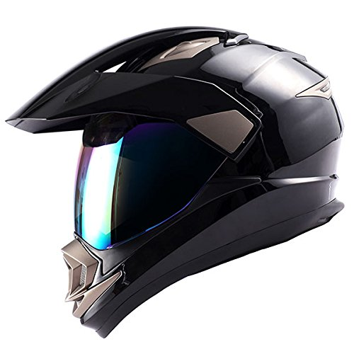 Dual Sport Motorcycle Motocross Off Road Full Face Helmet Glossy Black,Size Medium by 1Storm