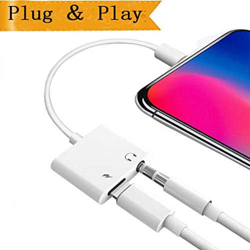 Lightning to 3.5mm Adapter for iPhone 7/7plus iPhone X10 8/8 Plus, Headphone Earphone Splitte Aux Audio Accessories, Compatible Audio+Charge+Remote Support iOS 10.3 or11 Later (white)