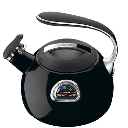 Cuisinart PTK-330BK PerfecTemp Porcelain Enameled Teakettle, Black Enamel Water