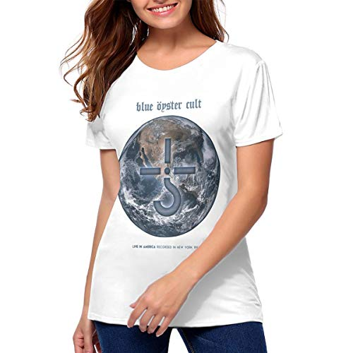 Women Blue Oyster Cult Fashionable Music Band Short Sleeves Tee Gift M White