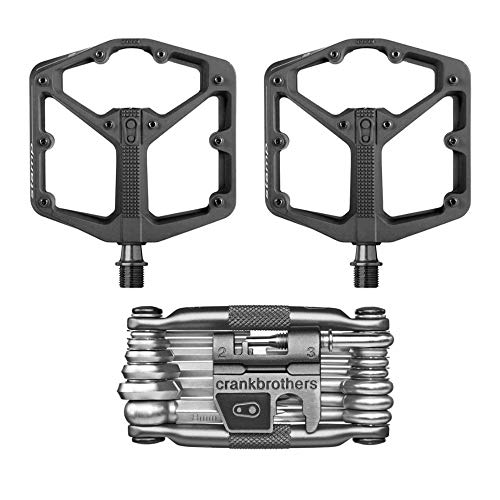 CRANKBROTHERs Crank Brothers Stamp 2 Lightweight Racing Bike Pedals Pair (Black) and M19 Bicycle Maintenance Multi-Tool - Multi Tool Brothers Crank 10