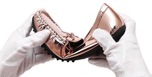 Fortuning's JDS Deslizamiento de cuero de patente de mujeres en mocasines con Bowknot champán