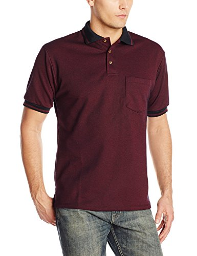 Red Kap Men's Performance Knit Twill Shirt, Burgundy/Black, Short Sleeve Large