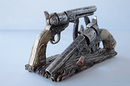 Colors of Rainbow Western Cowboy Double Gun Pistol Bullet Horseshoe Envelope Holder Rustic Home Office Decor