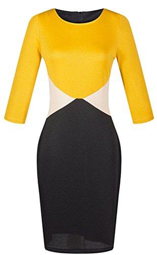 Arctic Cubic Sexy Long Sleeve Zipper Back Colorblock Midi Bodycon Dress Black Yellow XL