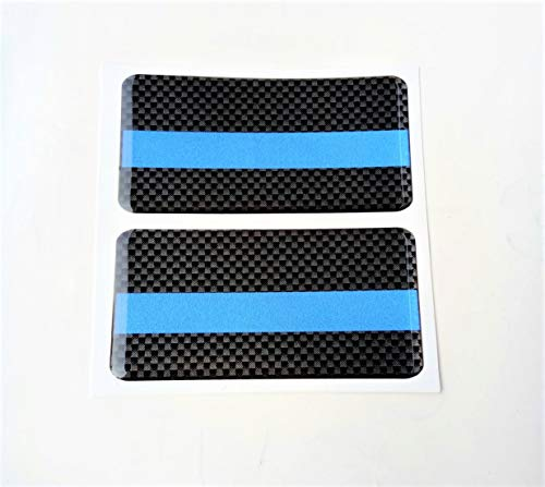Domed Blue Line Reflective Decal Rectangle Kevlar 2x 3D Gloss Resin US Cross Black Police USA Support Hero Shield Window Decal Sticker Motorcycle Door Motorbike Badge Car Truck Tailgate