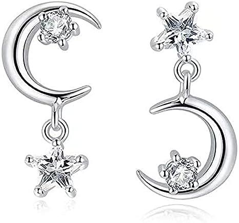 Pendientes asimétricos de plata de ley 925 con diseño de estrella y luna