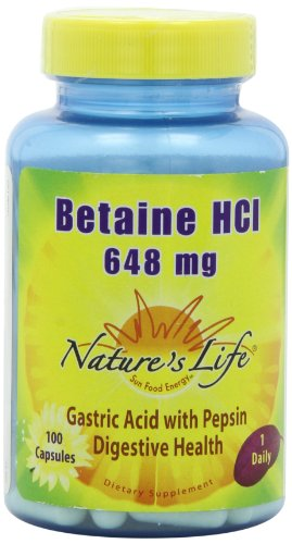 Nature's Life Betaine HCl Capsules, 648 Mg, 100 Count