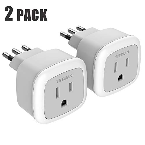 Italy Power Adapter,TESSAN Type L Italian Travel Outlet Electrical Adapter,Europe Plug Adaptor for USA to Italy Chile Uruguay(2 Pack)