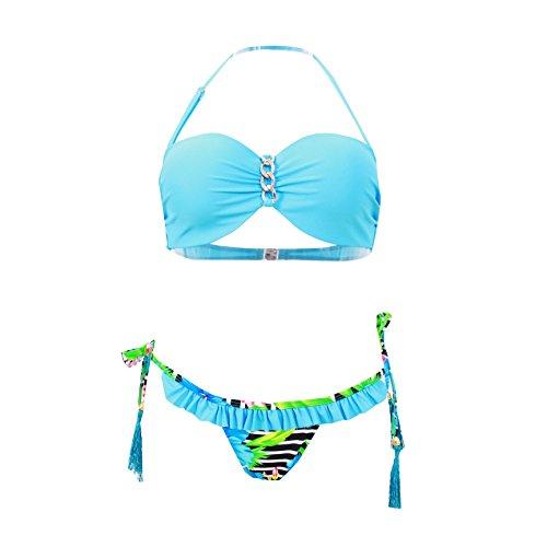 Haicoo Floral Sexy Halter Juniors Bikini Sets Fringe Micro Thong-6724-BE3