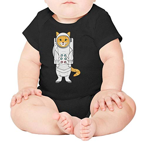 Unisex Baby Boy Girl Space Astronaut Cat Short-Sleeve Bodysuit