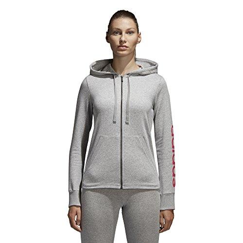 adidas Women's Essentials Linear Full Zip Fleece Hoodie, Medium Grey Heather/Real Pink, X-Small by adidas (Image #1)