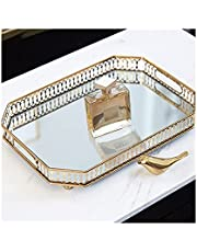 """Mirrored Perfume Tray Large, Key Tray for Entryway Table, Gold Mirror Tray, Vanity Tray, Glass Tray, Rectangle Metal Decorative Dresser Tray, Large Size 13.77"""" X 9.84"""" X1.96"""