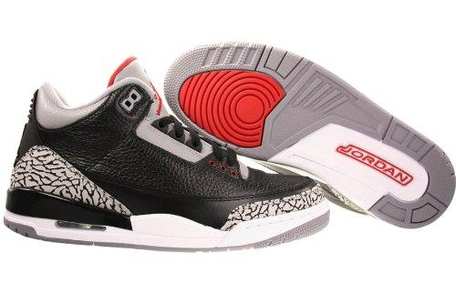huge selection of e3ae9 2d588 Nike AIR Jordan 3 Retro Mens 136064-010 (11.5, Black Varsity RED-Cement Grey)   Amazon.ca  Shoes   Handbags
