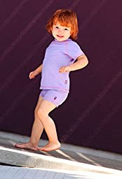 City Threads Big Girls\' Swimming Suit Bottom Boy Short, Purple w/ Hot Pink 12