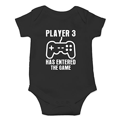 (Crazy Bros Tee's Player 3 Has Entered The Game - Gamer Baby Funny Cute Novelty Infant One-Piece Baby Bodysuit (6 Months, Black))