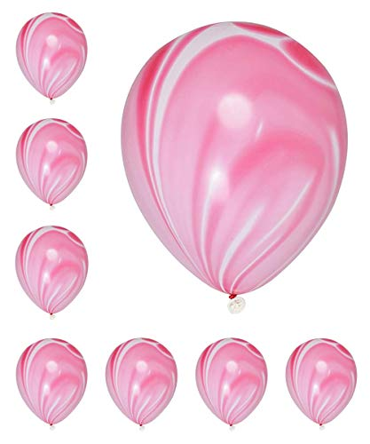 Pack of 18 Pink Marble Agate Balloons for Party Wedding Decoration, 12 Inch (Pink)]()
