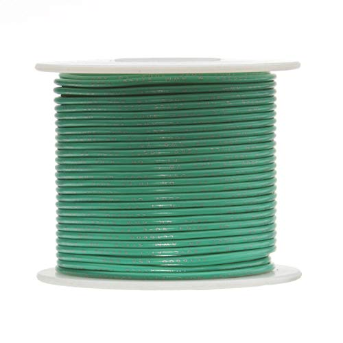 """26 AWG Gauge Solid Hook Up Wire Green, 1,000 Ft 0.0190"""" UL1007 300 Volts"""