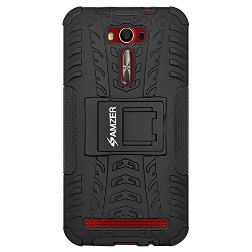 AMZER Impact Resistant Warrior Case with Kickstand for Asus Zenfone 2 Laser ZE601KL - Black