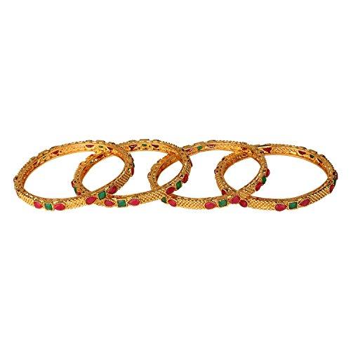 Efulgenz Fashion Jewelry Indian Bollywood 14 K Gold Plated Faux Ruby Emerald Bracelets Bangle Set (4 Pieces) For Women