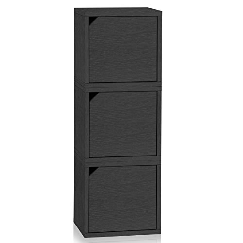 Way Basics Eco Stackable Connect  3-Cube Storage with Doors, Black Wood Grain (Tool-Free Assembly and Uniquely Crafted from Sustainable Non Toxic zBoard paperboard)