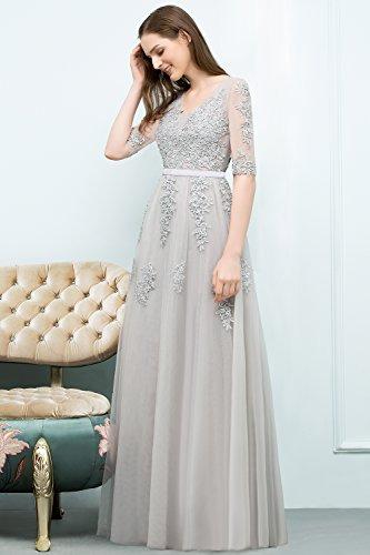 Spitze Ballkleider Damen Traumhaftes Maxilangkleid Abendkleid Silber Ausschnitt V Tüll MisShow Brautjungfernkleid Af4qSan