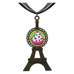 Chicforest Bronze Retro Style Sweet Heart Candy Eiffel Pendant