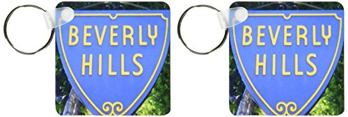- 3dRose Sign For Beverly Hills California - Key Chains, 2.25 x 4.5 inches, set of 2 (kc_62550_1)